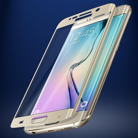Apsauginis grūdintas stiklas, auksinis/Tempered glass Galaxy S6 Edge [3D, auksinis]