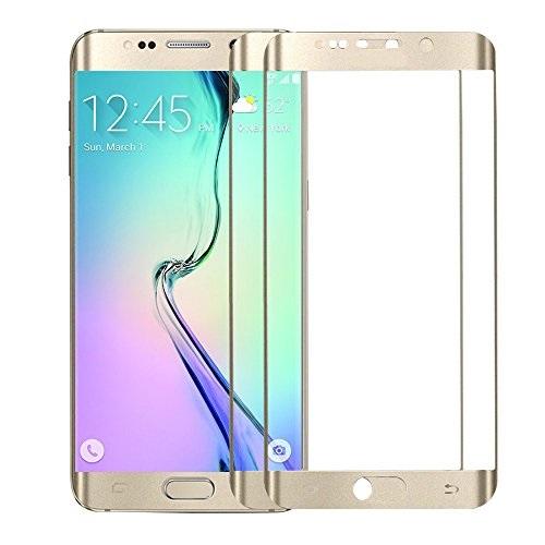 Apsauginis grūdintas stiklas/Tempered glass Galaxy S6 Edge [3D, auksinis, be pakuotės, 5 vnt.]