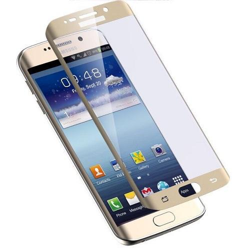 Apsauginis grūdintas stiklas/Tempered glass Galaxy S7 Edge [2.5D, auksinis,be pakuotės, 5 vnt.]