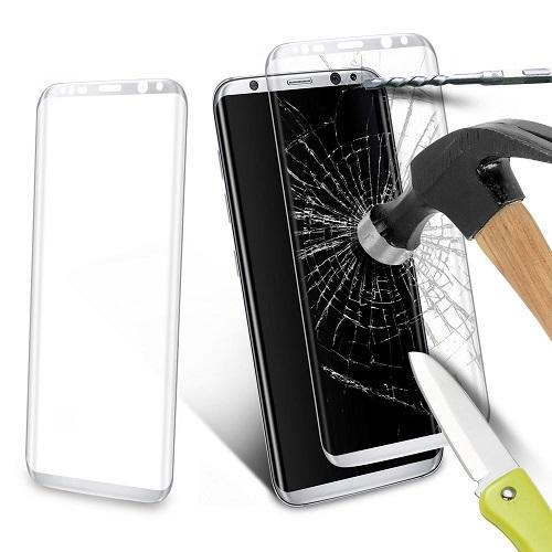 <b><mark><i>NAUJIENA!</i></b></mark> Apsauginis grūdintas stiklas Samsung Galaxy S8 [3D, sidabrinis]