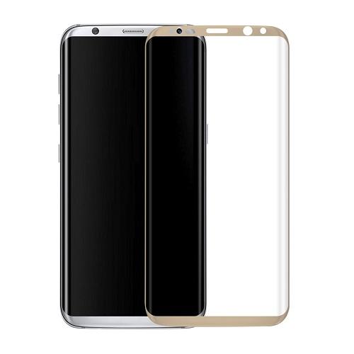 <b><mark><i>NAUJIENA!</i></b></mark> Apsauginis grūdintas stiklas Samsung Galaxy S8 [3D, auksinis]