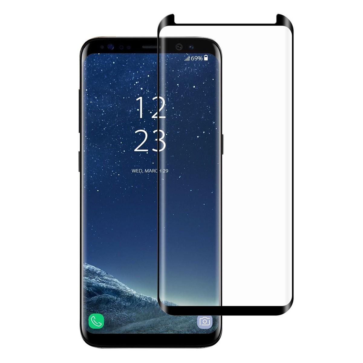<b><mark><i>NAUJIENA!</i></b></mark> Apsauginis grūdintas stiklas Samsung S8+ (3D, lipnūs kraštai)