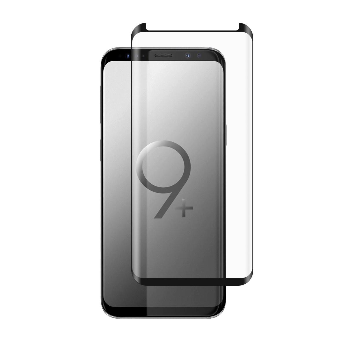 <b><mark><i>NAUJIENA!</i></b></mark> Apsauginis grūdintas stiklas Samsung S9+ (3D, lipnūs kraštai)
