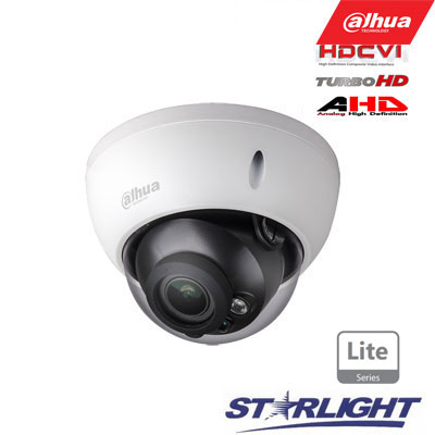 HD-CVI kam. STARLIGHT kupolinė 2MP su IR iki 30m, 2.7~12mm automatinis obj, DWDR, IP67