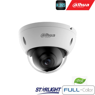 "IP kam.kupol. 2MP FULL-COLOR STARLIGHT ,1/2.8"" 3.6mm.87° F1.0, 50fps, WDR, IVS, IP67, IK10, ePoE"