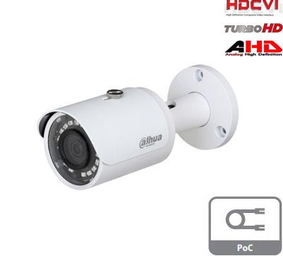 HD-CVI, TVI, AHD, CVBS kamera cilindrinė 2MP su IR iki 30m, 2.8mm. 106°, integruotas PoC maitinimas