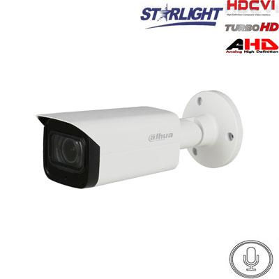 HD-CVI kam. STARLIGHT cilindrinė 2MP su LXIR iki 80m, 3.6mm., integruotas mik.
