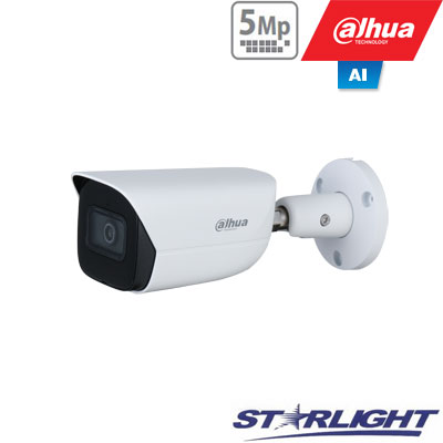 """IP kamera cilindr. 5MP STARLIGHT AI, IR pašvietimas iki 50m, 1/2.7"""" 2.8mm 98°, SMD, IVS, IP67, H.265"""