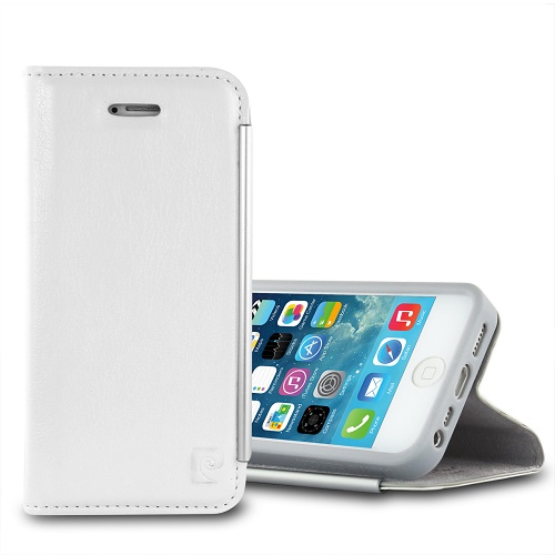 Atverčiamas dėklas, Pierre Cardin, baltas (iPhone 5/5s/SE)