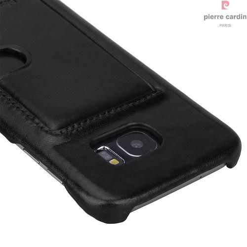 Natūralios odos nugarėlė su kišene kortelei, Pierre Cardin, juoda (Samsung Galaxy S7 Edge)