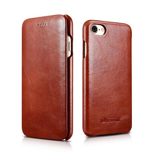 Atverčiamas natūralios vintažinės odos dėklas, rudas (iPhone 7/8)