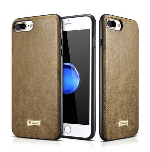 Stilinga natūralios odos nugarėlė, chaki (iPhone 7 Plusę 8 Plus)