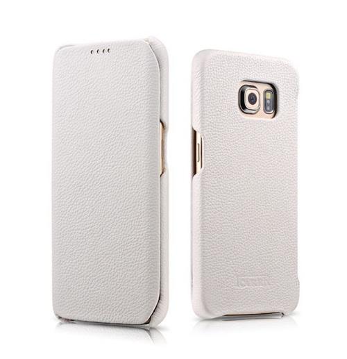 Natūralios odos dėklas, baltas (Samsung Galaxy S6 Edge)