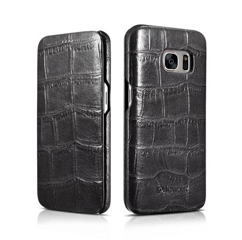 Natūralios odos dėklas, juodas (Samsung Galaxy S7)