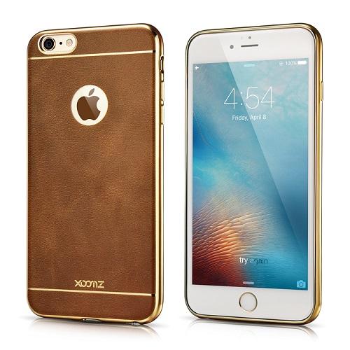 3D silikoninė nugarėlė su metalo spalvos briaunomis, ruda (iPhone 6 Plus)