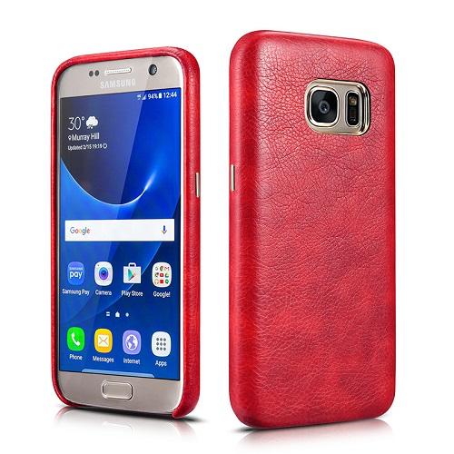 Dirbtinės odos nugarėlė, raudona (Samsung Galaxy S7)