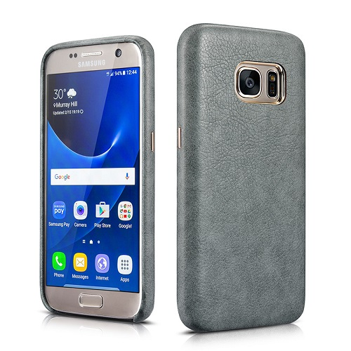 Dirbtinės odos nugarėlė, pilka (Samsung Galaxy S7)