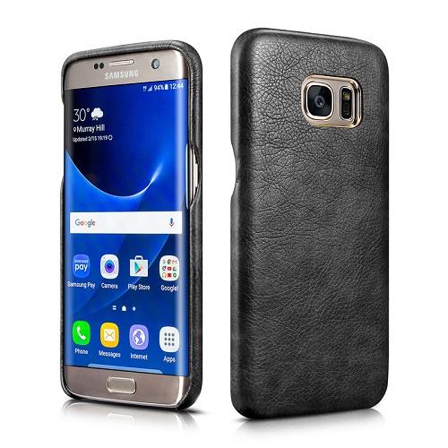 Dirbtinės odos nugarėlė, juoda (Samsung Galaxy S7 Edge)