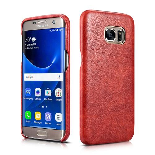 Dirbtinės odos nugarėlė, raudona (Samsung Galaxy S7 Edge)