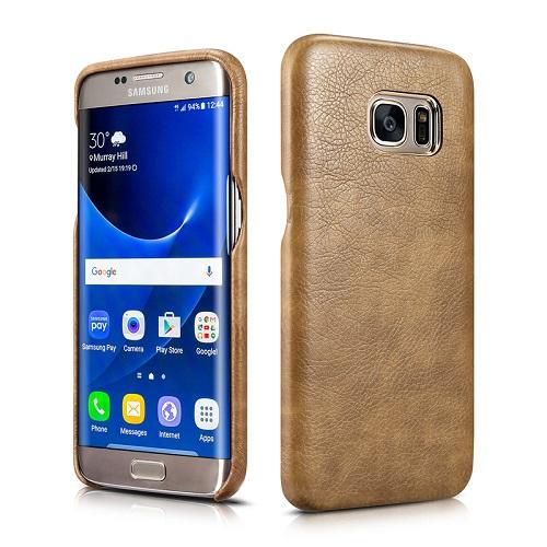 Dirbtinės odos nugarėlė, pilkai ruda (Samsung Galaxy S7 Edge)