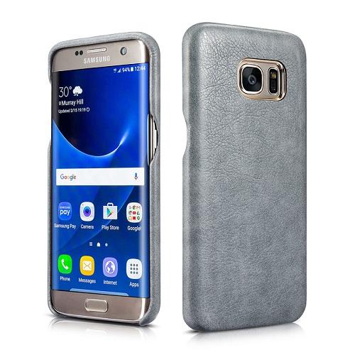 Dirbtinės odos nugarėlė, pilka (Samsung Galaxy S7 Edge)