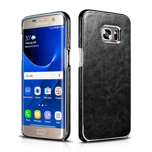 Dirbtinės odos nugarėlė su sidabrinėmis briaunomis, juoda (Samsung Galaxy S7 Edge)