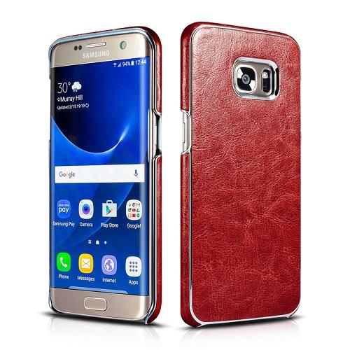 Dirbtinės odos nugarėlė su sidabrinėmis briaunomis, raudona (Samsung Galaxy S7 Edge)