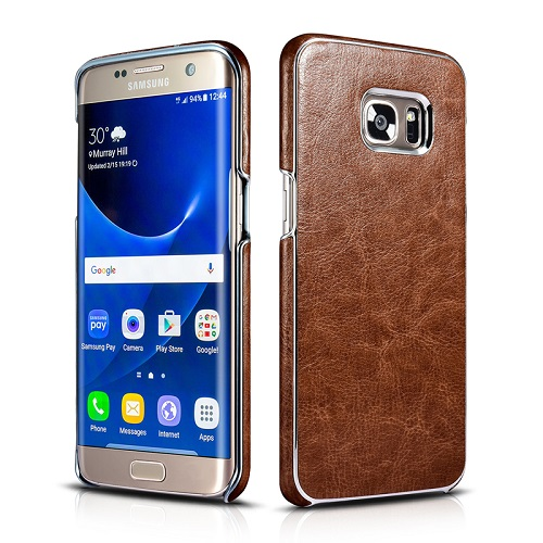 Dirbtinės odos nugarėlė su sidabrinėmis briaunomis, tamsiai ruda (Samsung Galaxy S7 Edge)