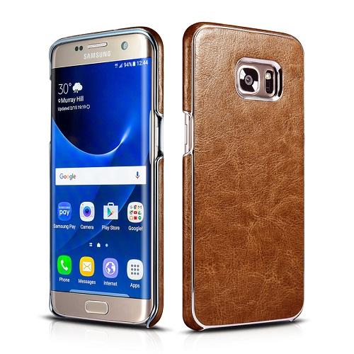 Dirbtinės odos nugarėlė su sidabrinėmis briaunomis, šviesiai ruda (Samsung Galaxy S7 Edge)