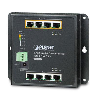 PoE šakotuvas 1G 4-portų + 4 uplink ind.