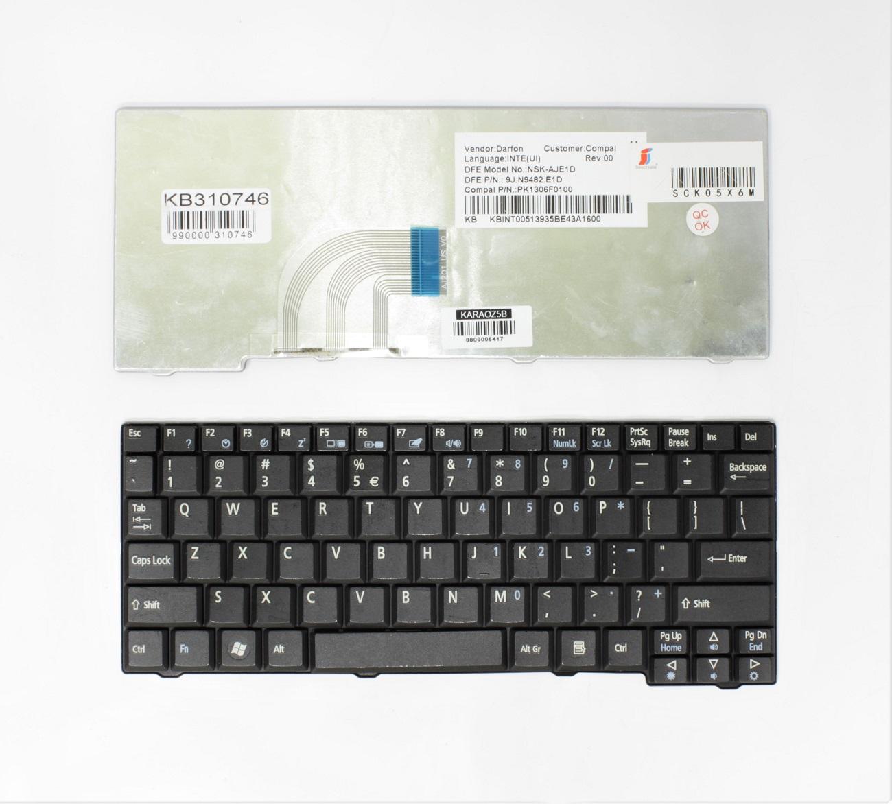 Klaviatūra ACER Aspire: One A110, A150, D150, D250, KAV10, KAV60, ZG5, ZG8