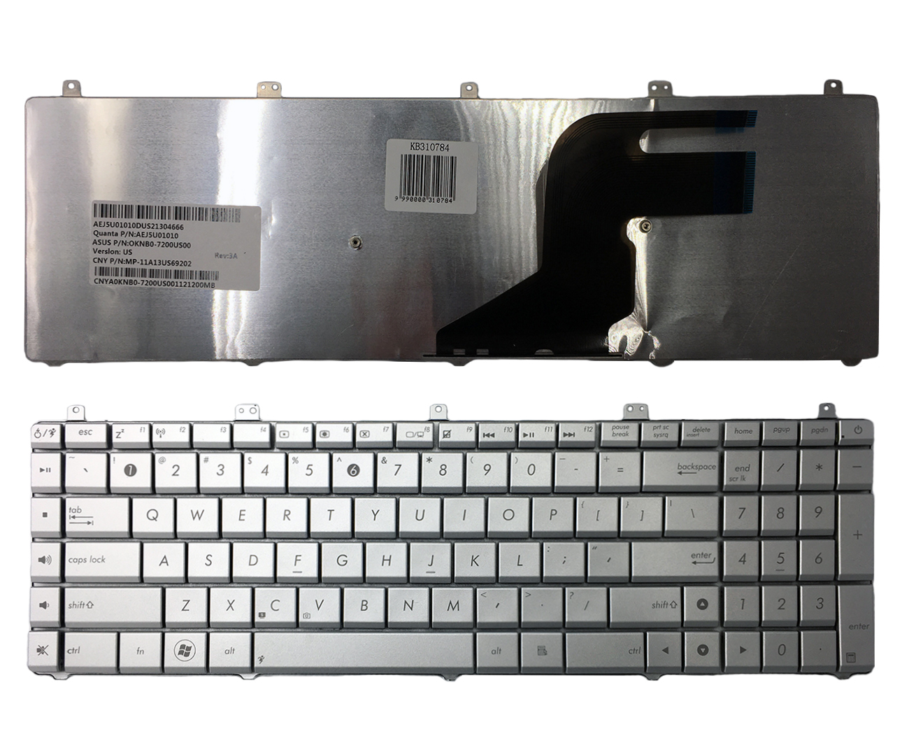 Klaviatūra ASUS N55 N55SL (sidabrinė)