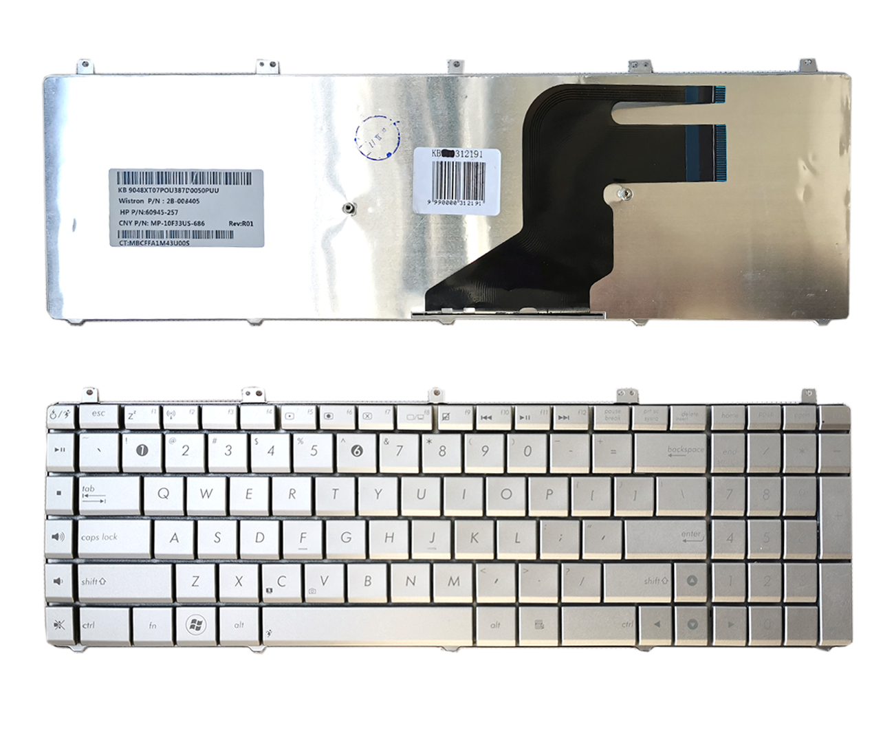 Klaviatūra ASUS N55, N75, X5QS, PRO7DS, X7DS (US)