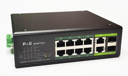 Industrinis PoE šakotuvas 1000Mbps 8portų+2G uplink RJ45 arba SFP portai, -40 °C, IEEE802.3af/at